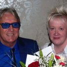 Joe Longthorne with Kirsty Hughes at his birthday party this year 31 5 2014. lovely photo Kirsty.