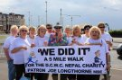 Joe at the end of The Joe Longthorne Friendship Club's Sponsored walk for DCWC Nepal Aug 2012