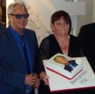 Joe Longthorne with Edith Greenwood who brought along this great Birthday Cake for Joe who celebrated his 59th Birthday with a party at Viva Blackpool 31 May 2014.