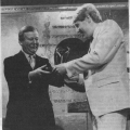 Joe Longthorne receiving 'Most Promising Newcomer' from the late Eric Morley, Chief Barker of The Variety Club in 1983.